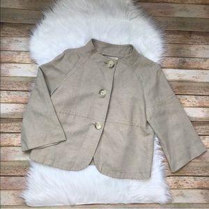 MICHAEL Michael Kors Linen Cropped Jacket M